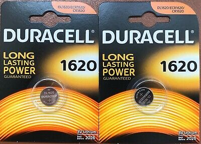 2x Duracell CR1620 Coin Cell Battery 3V Lithium DL1620 BR1620 LONGEST EXPIRY