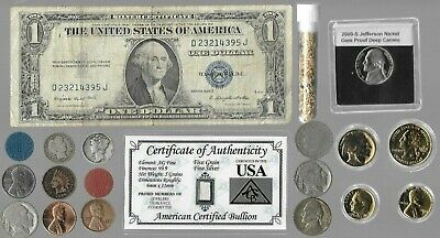 Silver Dollar Mercury Indian Buffalo WWII War Nickel US Coin Collection Lot Gold