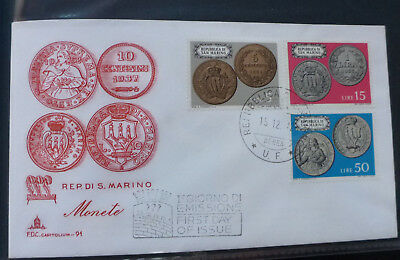 1972 San Marino Coinage 3 Stamps First Day Cover