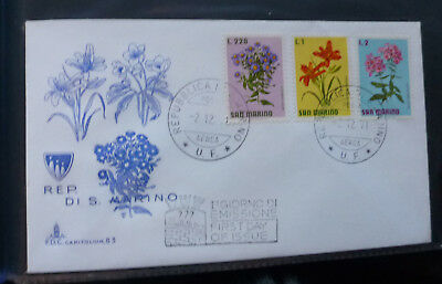 1971 San Marino Flowers 3 Stamps First Day Cover