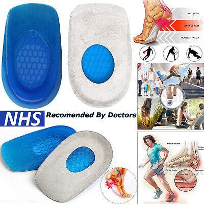 Gel Heel Cushions Orthotic Heel Shoe Insoles Support Pad Pain Relief Foot Cup