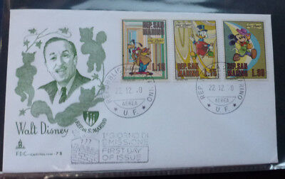 1970 San Marino Walt Disney Mickey Goofey Donald 3 Stamps First Day Cover