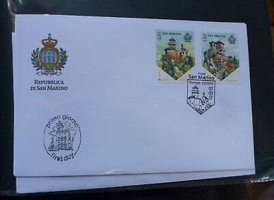 2017 San Marino Castles 2 Stamps First Day Cover