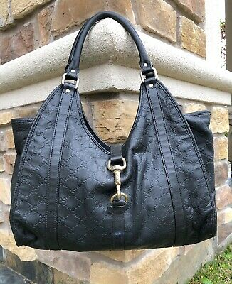 020b9c4503c GUCCI GUCCISSIMA ALL Leather JOY Black HOBO BAG Authentic -  280.00 ...