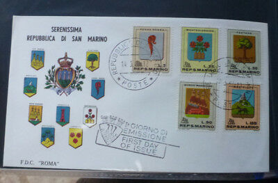 1968 San Marino Arms Of San Marino 5 Stamps First Day Cover