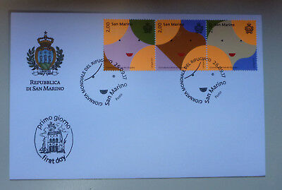 2017 San Marino Refugee Strip Of 3 Stamps First Day Cover