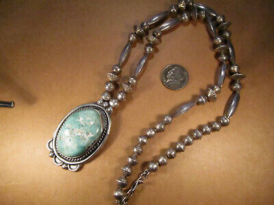 "Old Pawn Sterling Silver & Turquoise Beaded Necklace, Unsigned, 25.5"", 61.7g"