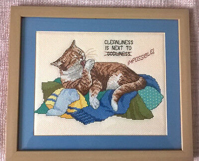 FRAMED CAT EMBROIDERY, FRAME SIZE 33.5cm x 28.5cm