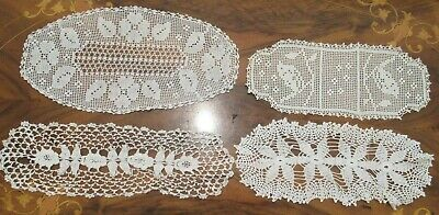 4 handmade WHITE DOILIES 2 filet crochet (1 with birds) and 2 crochet lace Vtge