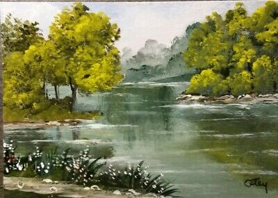 Aceo, acrylic,original, landscape, Hazy Day At The Lake by Donna Otey