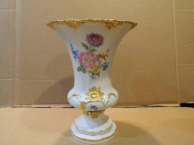 Meissen Large Vase Hand Painted Flowers Gold Accents & Trim # 2790 Second