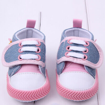 Pink Baby Infant Toddler Crib Straps Shoes Anti-Slip Soft Sole Sneakers 11cm