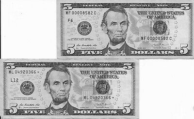 2  $ 5 2013 federal reserve notes (1 star note & 1 low serial number MF00008582C