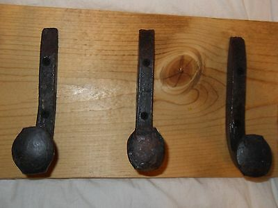 "3 Antique Hooks Old Railroad Spike Art ""Golden Oak"" Vintage Style Coat Rack Hat"