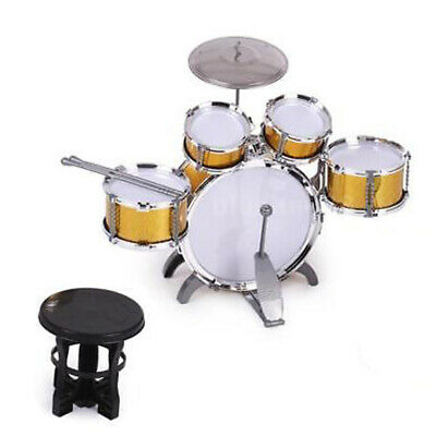Durable Drum Set with Cymbal Stool Musical Instrument Children Toy Candy