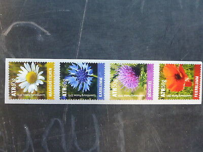 2015 Luxembourg Flowers Strip Of 4 Mint Stamps Mnh