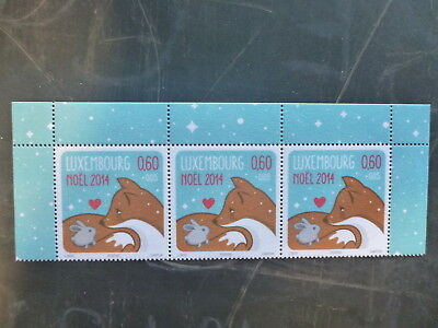 2014 Luxembourg Christmas Sprip Of 3 Mint Stamps 0,60 Rate