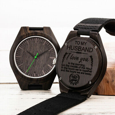 Genuine Leather Strap Wooden Watches Men's Watch Special Design With Lettering