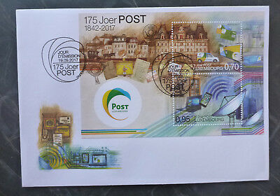 2017 LUXEMBOURG 175th POSTAL SERVICE MINI SHEET FDC FIRST DAY COVER