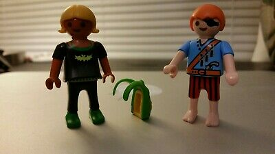 Lot of 2 Playmobil Mini Figures Boy Red Pirate Eye Patch Blonde Girl Backpack