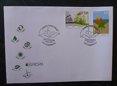 2016 Luxembourg Think Green Set Of 2 Stamps Fdc First Day Cover