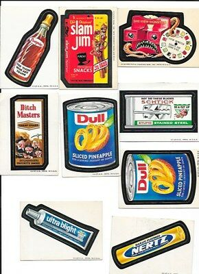 9 Wacky Packages  Stickers 1973 And 1975 White Backs Topps Unused
