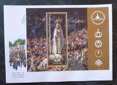 2017 LUXEMBOURG 100th FATIMA APPARITIONS MINI SHEET FDC FIRST DAY COVER