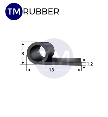 EPDM Rubber Door Seal P section 18mm x 8mm x 1.2mm thick sold per metre