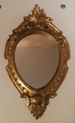 Vintage Florentine Style Wall Mirror Ornate Oval Wood Frame Gold