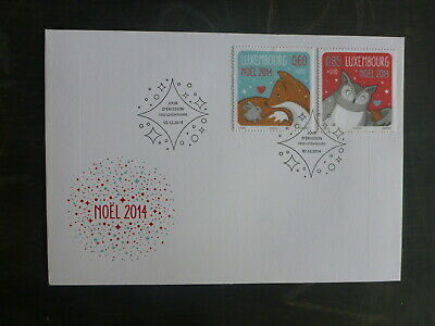 2014 Luxembourg Christmas Set 2 Stamps Fdc First Day Cover