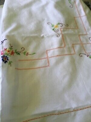 three lovely vintage embroidered tableclothes