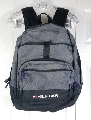 c41ebdab TOMMY HILFIGER gray black nylon backpack book bag school bag travel backpack