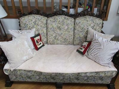 Antique Victorian Upholstered Lounge Suite 3 Seat Sofa & 2 Armchairs Chairs