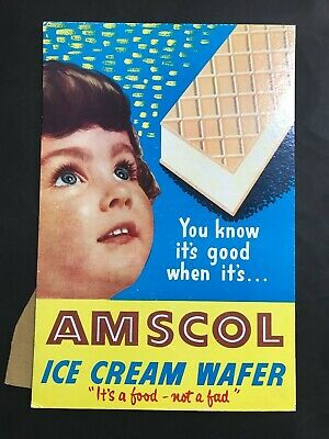 AMSCOL ICE CREAM VINTAGE 1960's SHOP ADVERTISING POINT OF SALE CARDBOARD SIGN