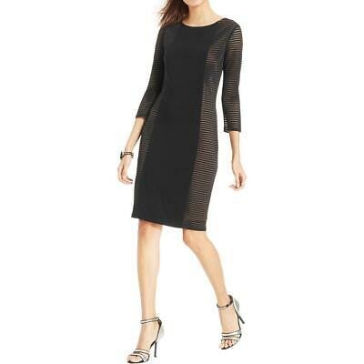 afc04a8d2d6 Nine West Womens Black Sheer 3 4 Sleeves Party Cocktail Dress 14 BHFO 2536