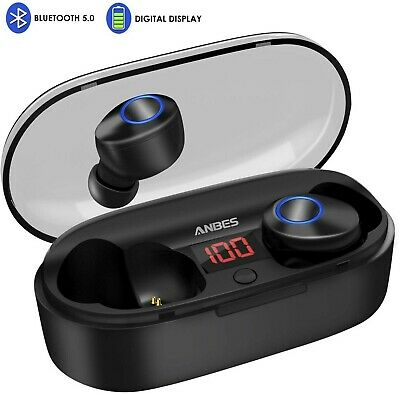 Wireless Earbuds, ANBES Bluetooth Headphones 5.0 LED Display Mini True Earbuds,