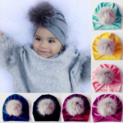 US Toddler Infant Kid Baby Boy Girl Hat Turban Velvet Beanie Hat Winter Warm Cap