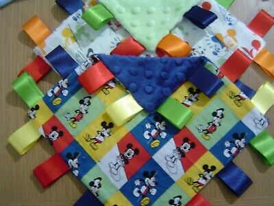 Mickey Mouse Taggy Blankets, 20cm square. Various Colours and Styles