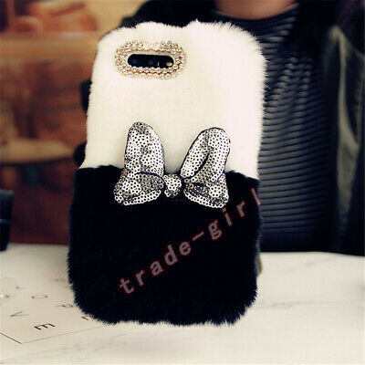 Luxury Fluffy Plush Rabbit Fur Phone Case Bling Glitter Sequins Bowknot Cover