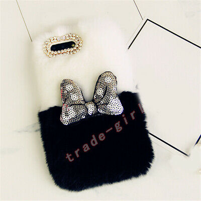 Bling Glitter Diamond 3D Sparkle Bowknot Plush Rabbit Fur Cell Phone Case Cover