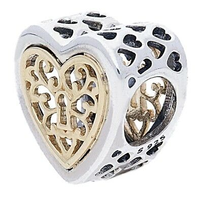 Openwork Heart Lock Pandora Charm Genuine 14Ct 791740