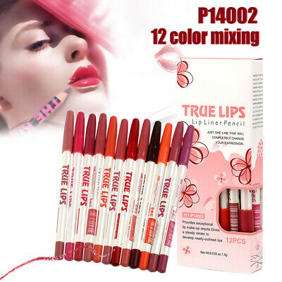 12 PC Waterproof Lipstick Lip Liner Long Lasting Matte Lipliner Pencil Pen Set