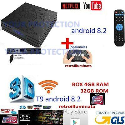Smart Ip Box T9 Pro Android 8.2 Oreo Rk3328 4Gb Ram 32Gb 4K Tv 5 Dazn Wireless