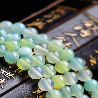 Natural Apple Green Agate beads 6mm 8mm 10mm Shining Stone Makings Round Hole