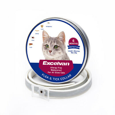 "Flea & Tick Cat Collar 6 Months Protection Waterproof 25"" Adjustable Pet Collar"
