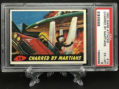 1962 Mars Attacks CHARRED BY MARTIANS #14 EXCELLENT-MINT 6 - Topps garno PSA