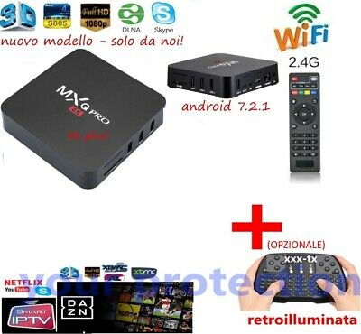 Ott Tv Smart Box 4K 2Gb Android 8.1 Iptv Dazn Mxq Pro Wifi Quad Core + Tastiera