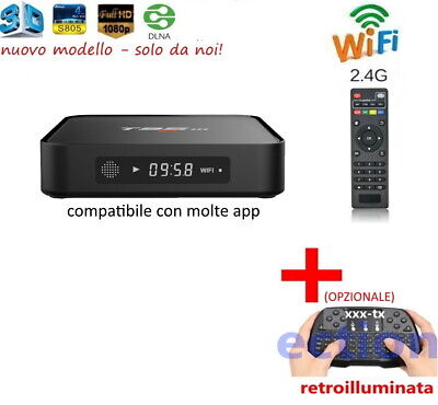 Ott Tv Smart Box 4K 2Gb Android Iptv Dazn Mxq Pro Wifi Quad Core + Tastiera T95