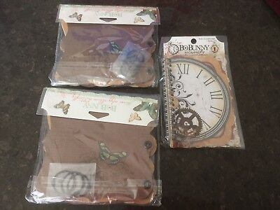 Two Mini Edgy Album Butterfly Item Making Kits And One Spiral Bound Notebook