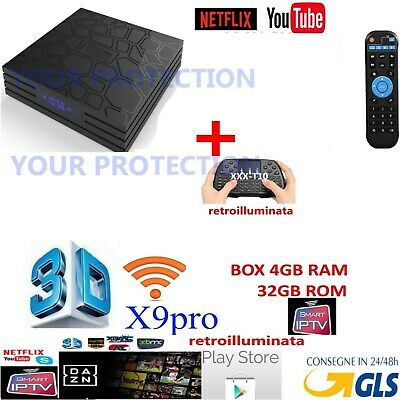 Smart Tv Box X9 T9 Pro Android 7.1 4Gb Ram 32Gb 4K Iptv 5 Dazn  Wireless Wifi